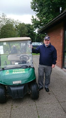 "President Des Donnelly about to set out for some ""course ranging"" at Stephen Kenny's Captains Prize at Newlands on September 14tn 2015"