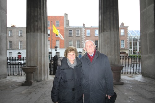 Dermot Quigley and his wife at the Mass. Dermot was the PPU Secretary in the Centenary year 1964
